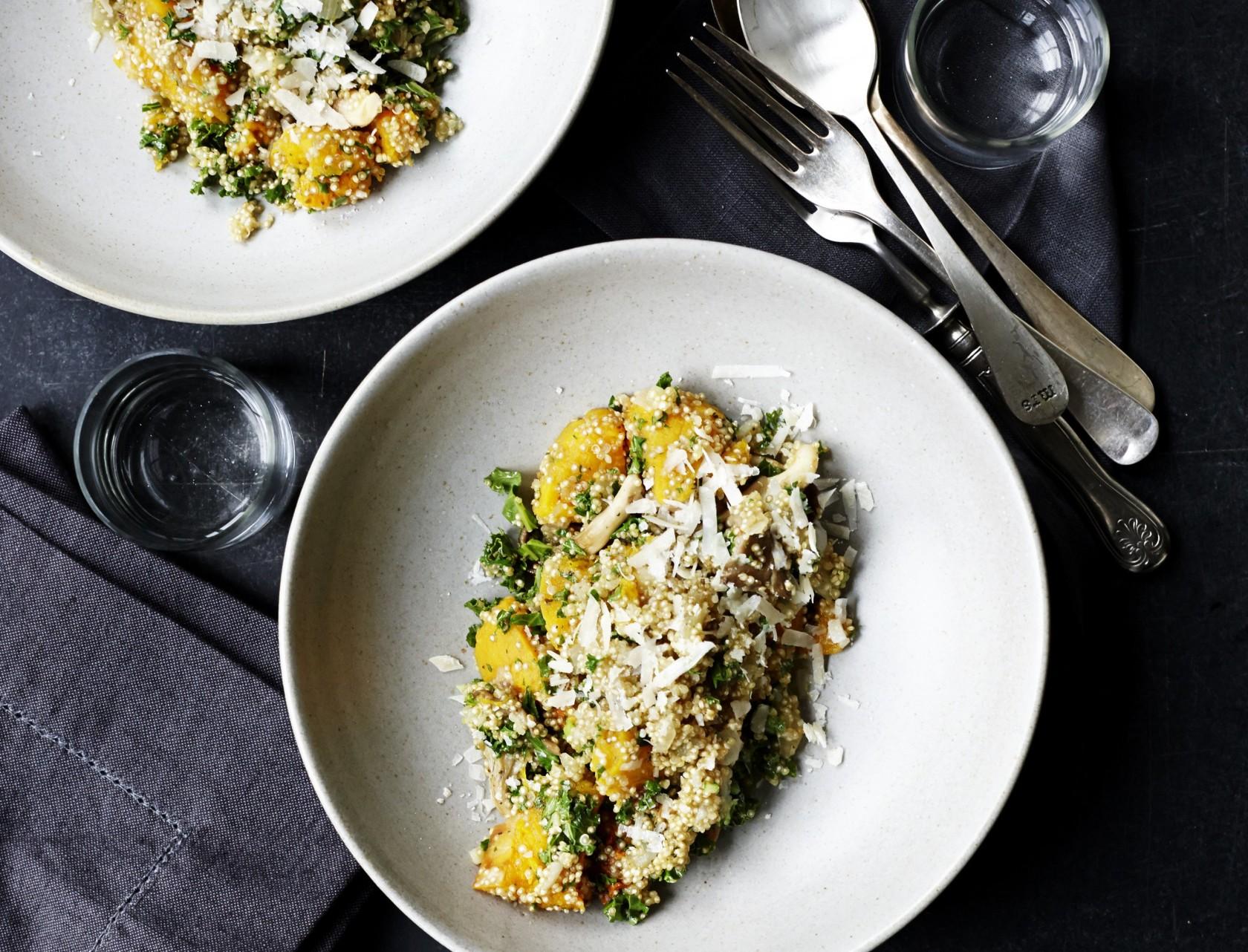 Risotto med quinoa, butternutsquash og svampe