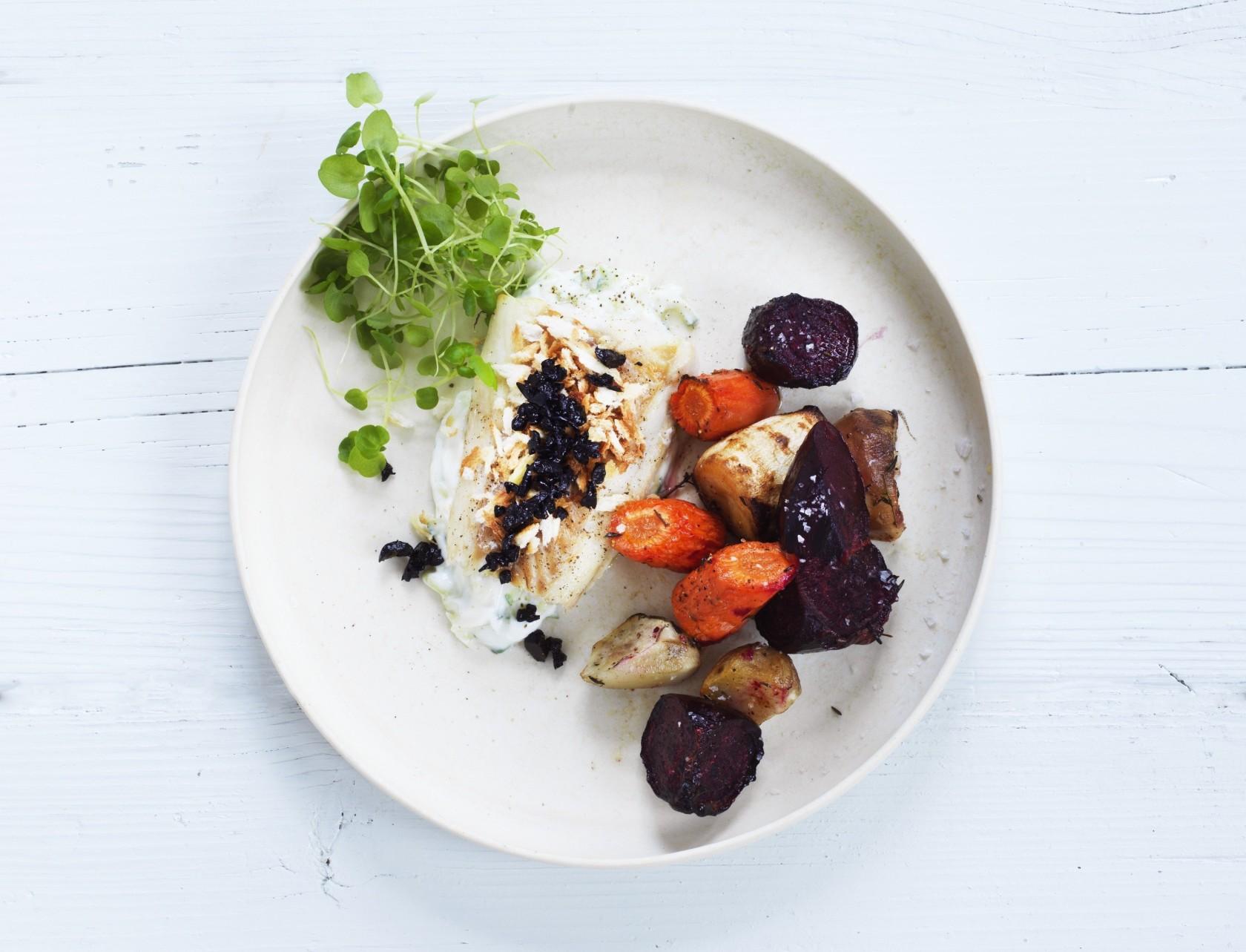 Bagt torsk med rodfrugter - nem aftensmad