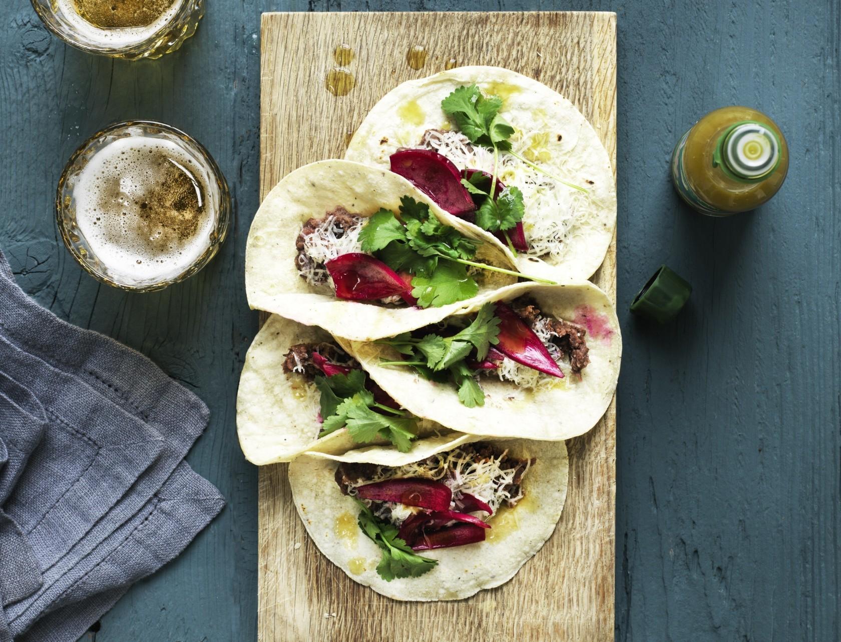 Tacos med refried beans - det lækreste vegetariske fyld