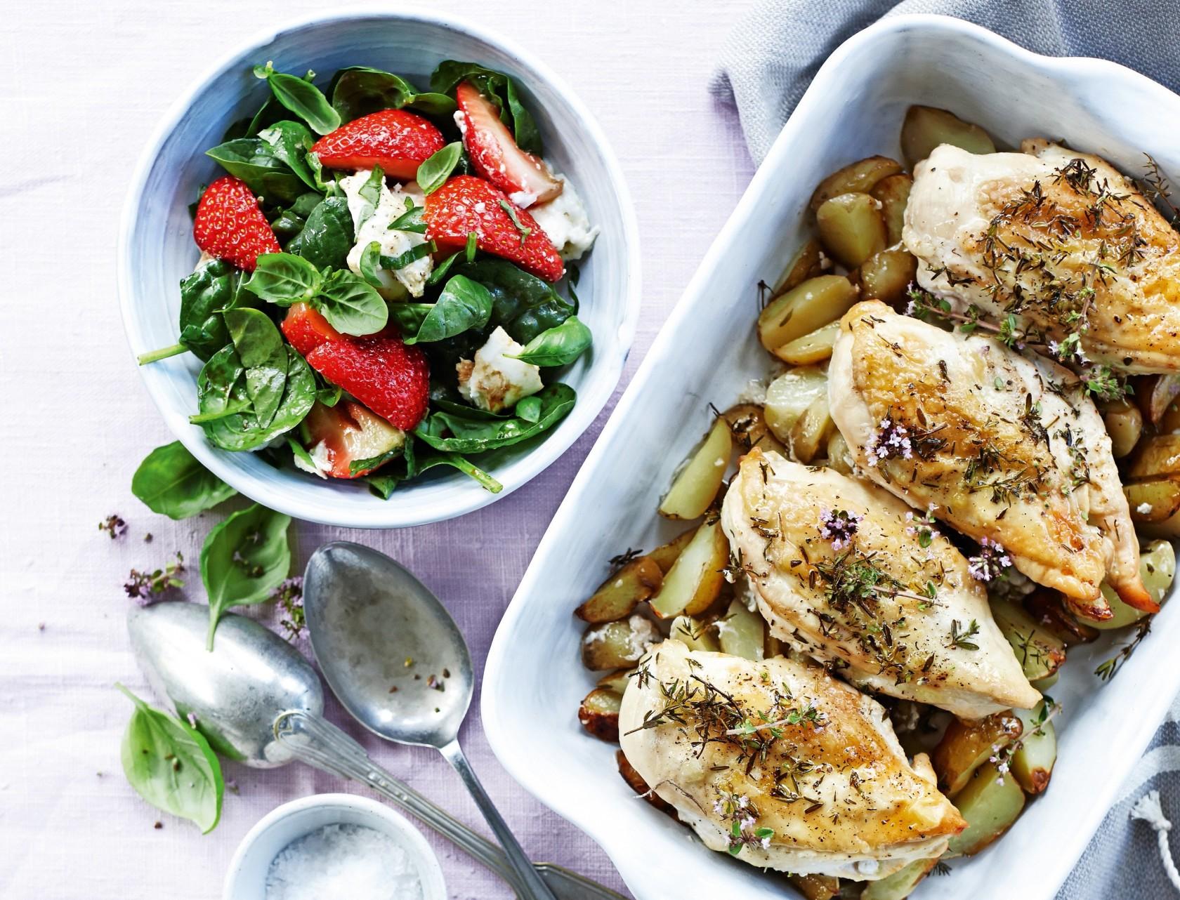 Timiankylling i ovn med salat