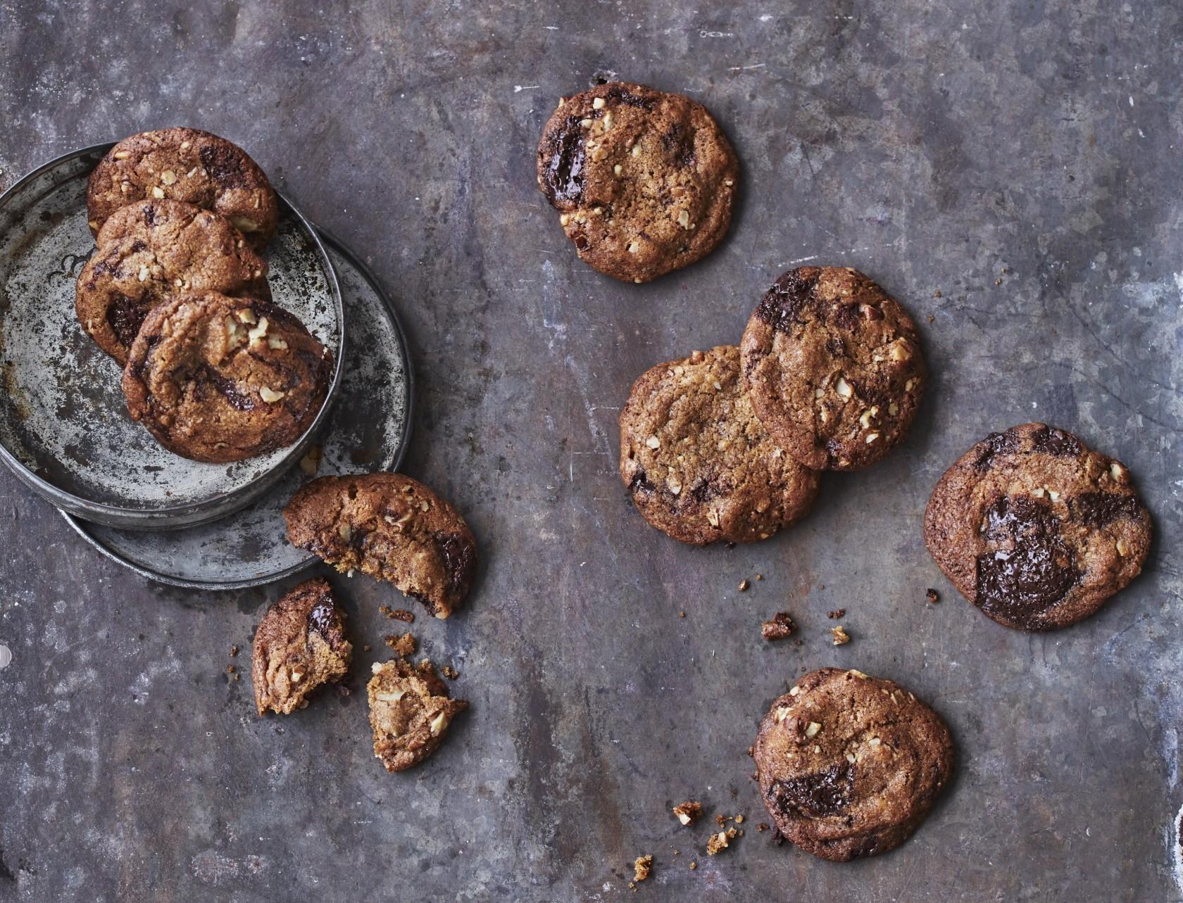 Chocolate chip cookies med pekannødder - den bedste opskrift!