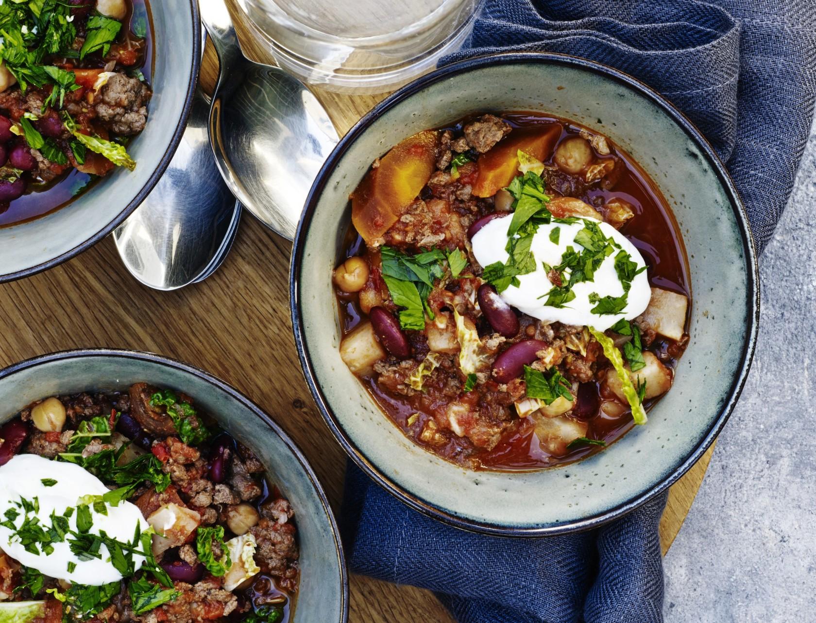 Chili con carne med grøntsager - god opskrift på mexicansk mad.