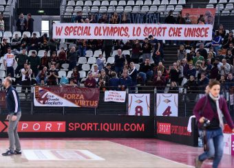Striscione Special Olympics Virtus Roma - Zeus Energy Group Rieti Campionato Basket LNP 2018/2019 Roma 02/12/2018 Foto Gennaro Masi / Ciamillo-Castoria