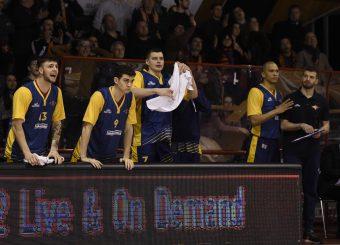 esultanza Tommaso Baldasso Leonis Roma - Virtus Roma Campionato Basket LNP 2018/2019 Roma 31/01/2019 Foto Gennaro Masi / Ciamillo-Castoria