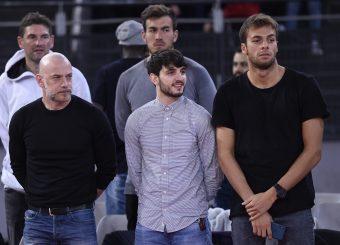 Filippo Nigro Giacomo Ferrara Gregorio Paltrinieri Virtus Roma - Givova Scafati Campionato Basket LNP 2018/2019 Roma 14/04/2019 Foto Gennaro Masi / Ciamillo-Castoria