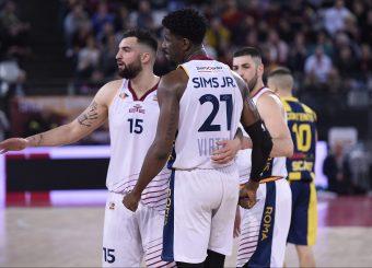 Aristide Landi Henry Sims Virtus Roma - Givova Scafati Campionato Basket LNP 2018/2019 Roma 14/04/2019 Foto Gennaro Masi / Ciamillo-Castoria