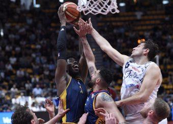 Henry Sims Stefano Mancinelli Lavoropiu Fortitudo Bologna - Virtus Roma Campionato Basket LNP 2018/2019 Bologna 01/05/2019 Foto Gennaro Masi / Ciamillo-Castoria