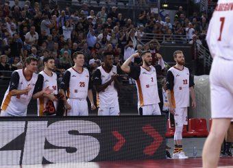 esultanza Virtus Roma Virtus Roma - AX Armani Exchange Milano Lega Basket Serie A 2019/2020 Roma, 27/10/2019 Foto Gennaro Masi / Ciamillo-Castoria