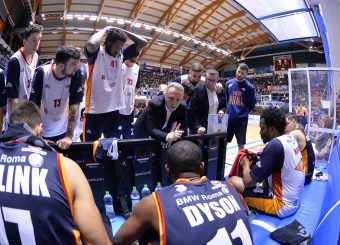 Bucchi Piero time out Happy Casa Brindisi - Virtus Roma Legabasket Serie A 2019-2020 Brindisi febbraio 2020 Foto Ciamillo
