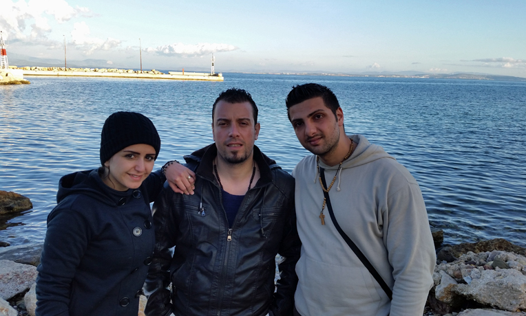 Karam (right) with friends Rana and Tarek