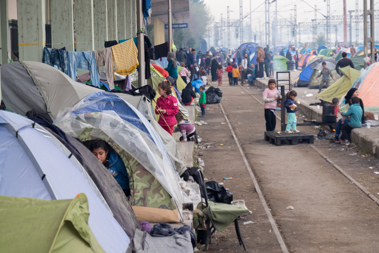The train station in Idomeni has stopped moving refugees further into Europe and now has transformed into a makeshift camp.