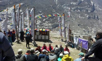 A group discusses plans for Langtang.