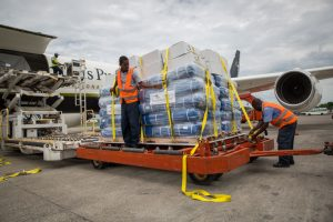 Unloading the DC-8 in Haiti