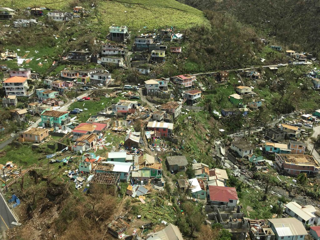 Aerial view shows widespread destruction in Dominica