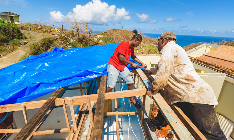 IN THE WAKE OF HURRICANE MARIA, OUR TEAMS HAVE DISTRIBUTED HEAVY-DUTY SHELTER TARPAULIN TO NEARLY 4,500 HOUSEHOLDS ALONG THE WEST COAST OF DOMINICA.