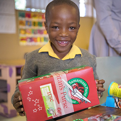 Boy in Namibia with shoebox gift
