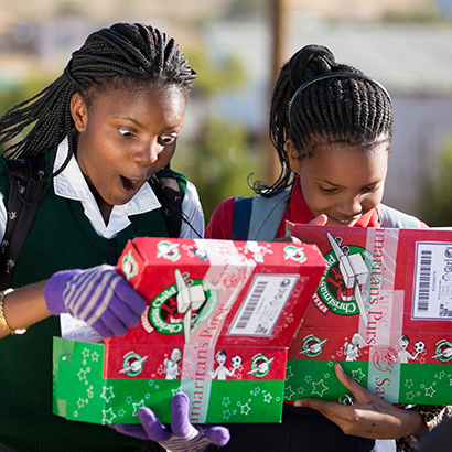Girls in Namibia excited about shoebox gifts
