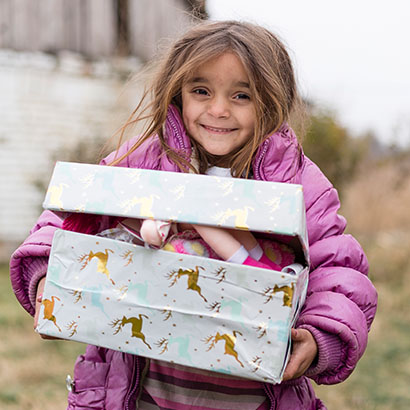 Girl in Serbia with shoebox gift