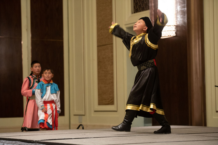 Deggie, 14, danced a traditional Mongolian dance at the ceremony. He had surgery at Mayo Clinic when he was 3 years old and then became a Christian at age 7 when he attended our Heart Camp.