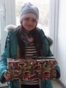 Dumitritsa with shoebox gift