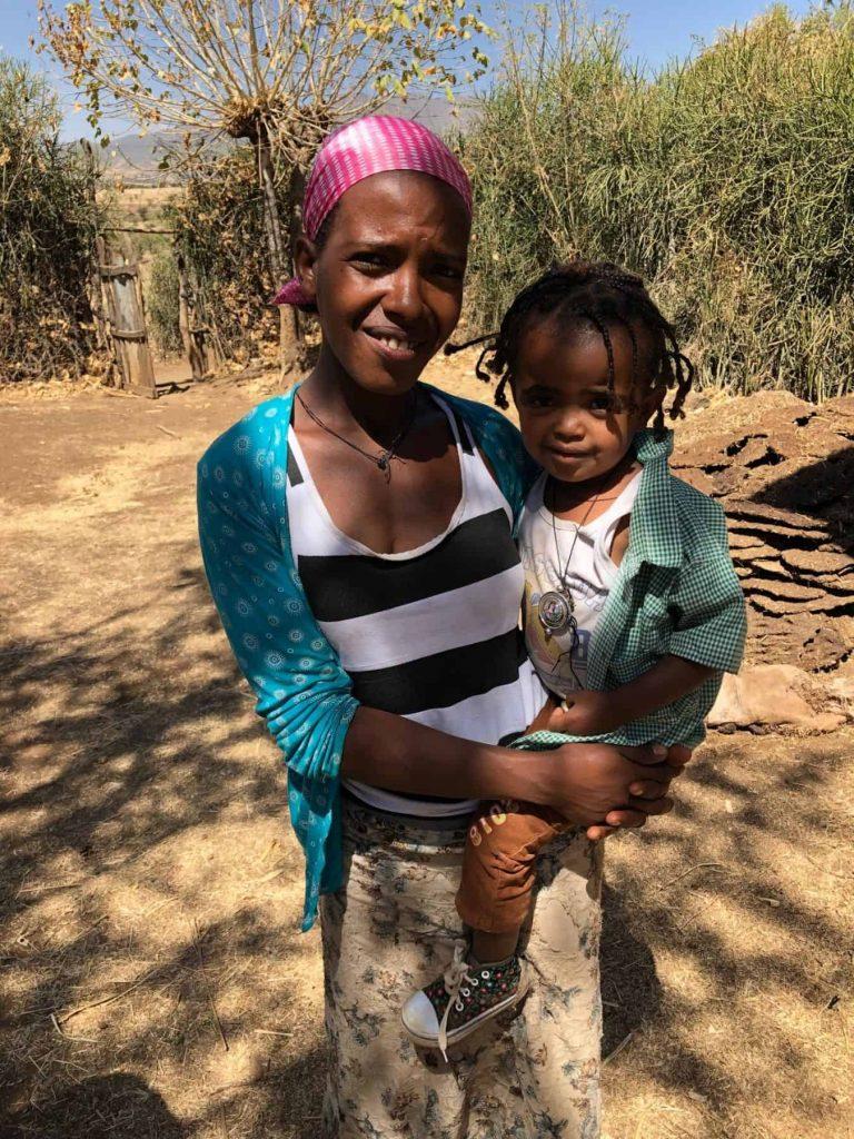 Frealem Esthau and her daughter