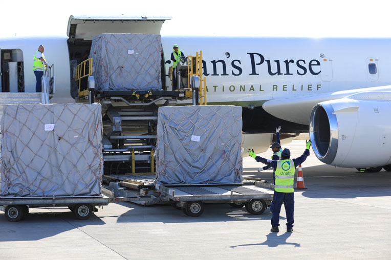 The DC-8 is unloaded in Erbil on Sunday, Nov. 10.