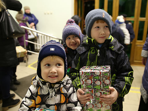 Boys getting shoebox gifts
