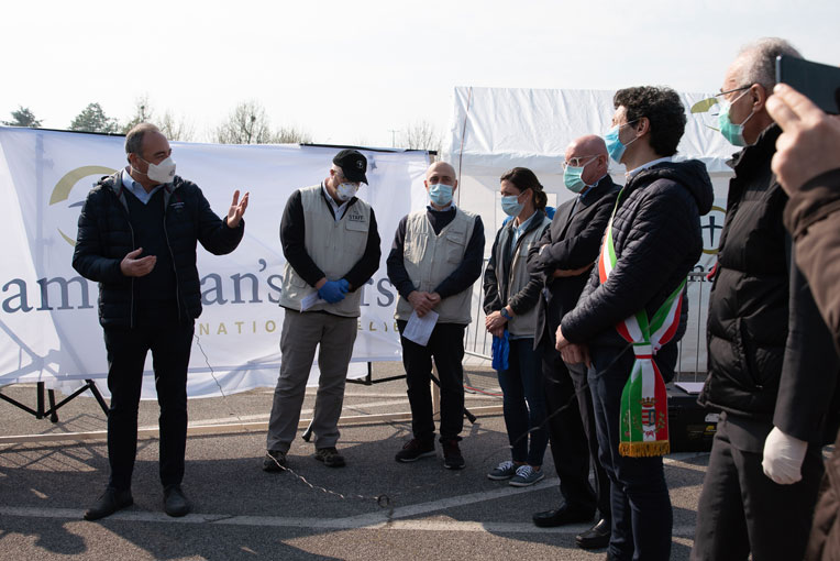 Local officials and Samaritan's Purse staff join in a dedication ceremony.