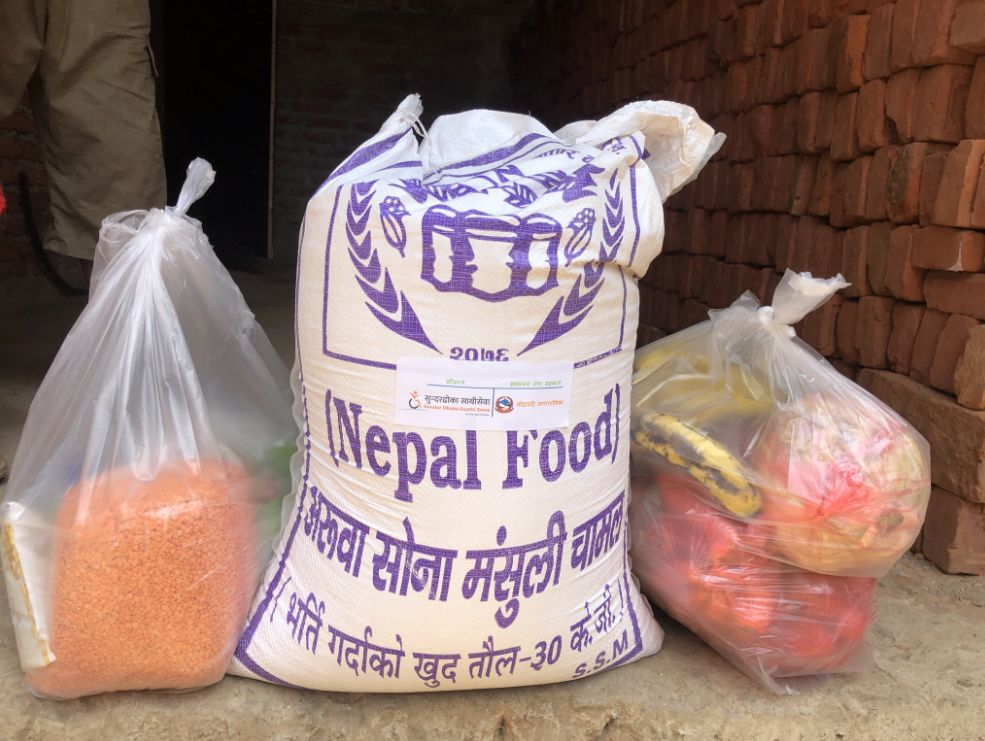 Each emergency food package delivered in Nepal contains a 30-kilogram bag of rice, as well as lentils, vegetables, fruit, cooking oil, salt, and sugar.
