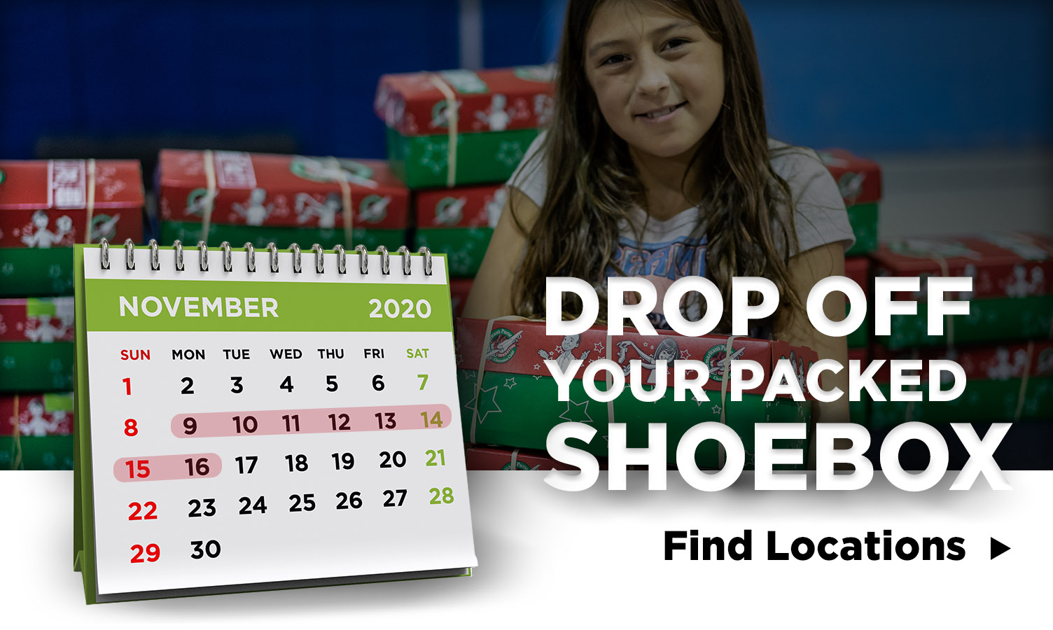 Drop off your packed shoebox