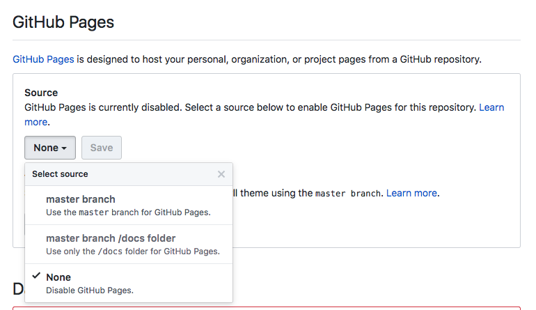 Github Pages Section