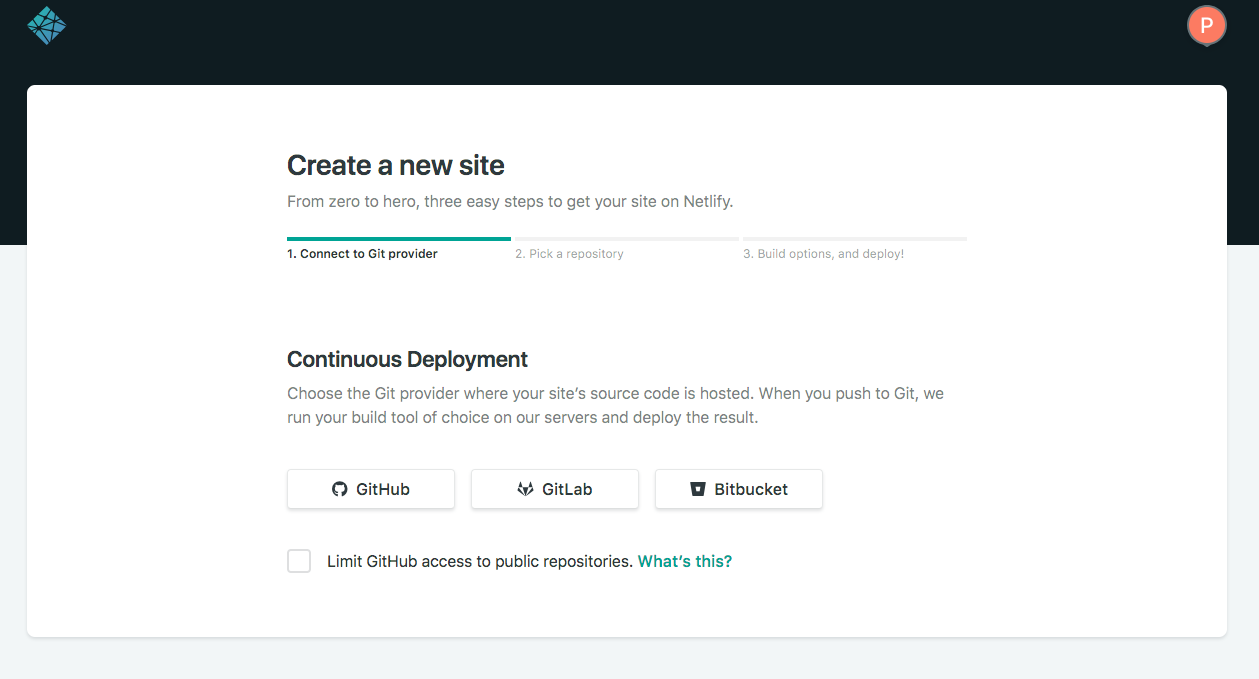 Create a new Netlify site