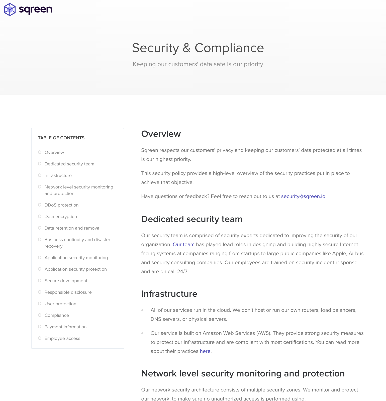 Security page example