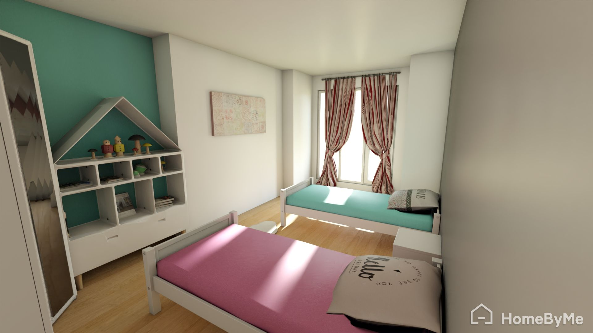 two twin beds with dollhouse