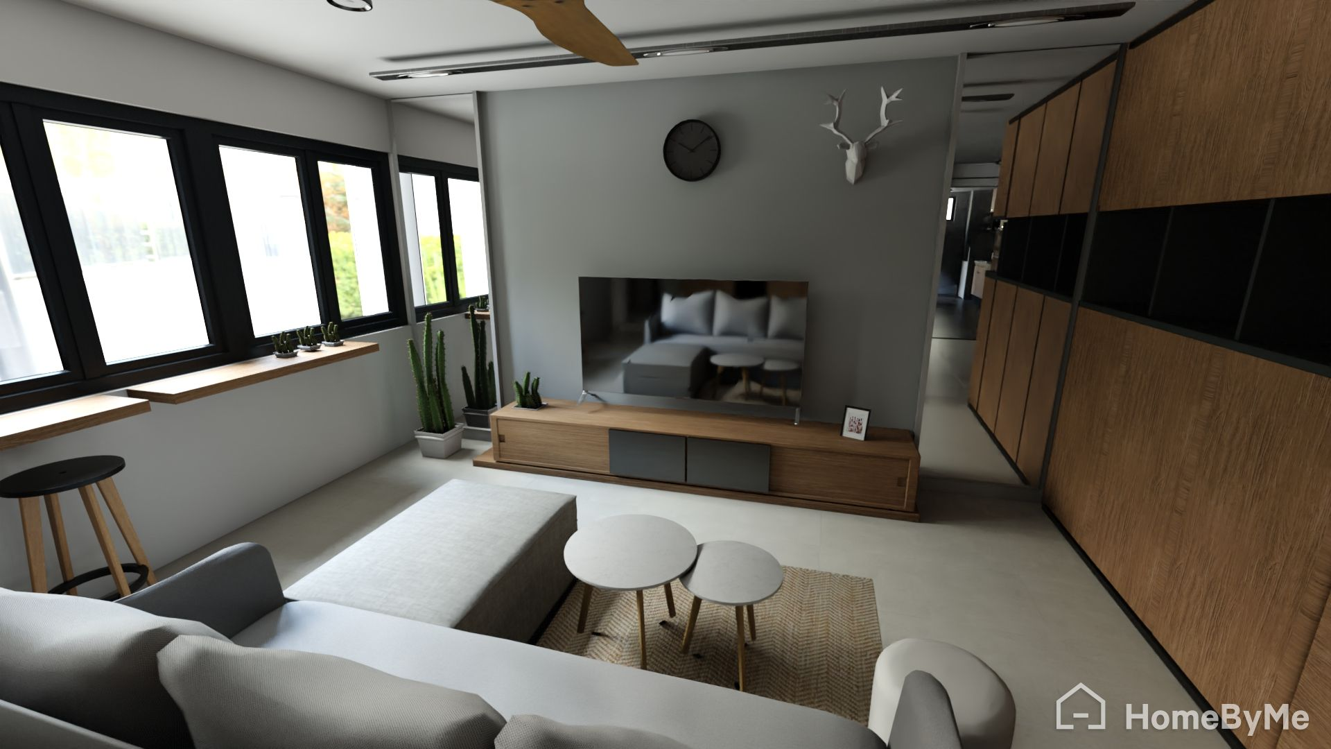 Living room with white couch and TV