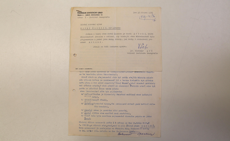 Correspondence relating to the naming of Srbska