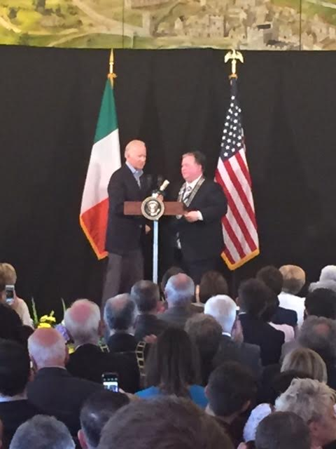 Biden receiving the freedom of Louth