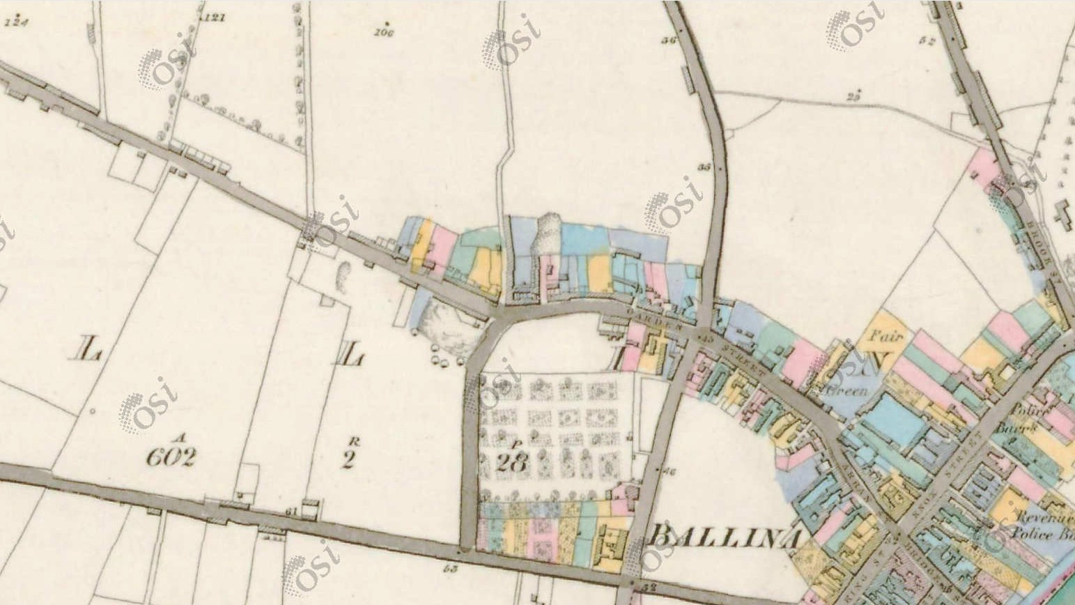 Ordnance Survey 6 inch to Mile map, Garden Street 1837