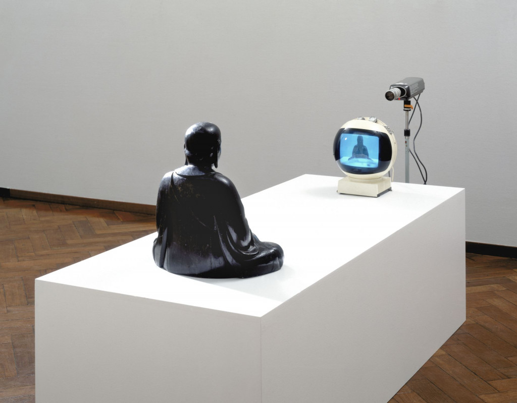 Nam June Paik, TV-Buddha, 1974. Collection Stedelijk Museum Amsterdam. Photo: Stedelijk Museum Amsterdam.
