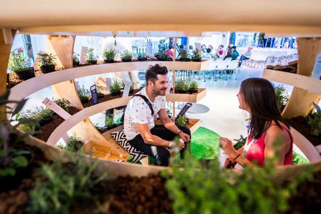 A man sitting in a vertical farming installation at our 2017 TFF Summit.