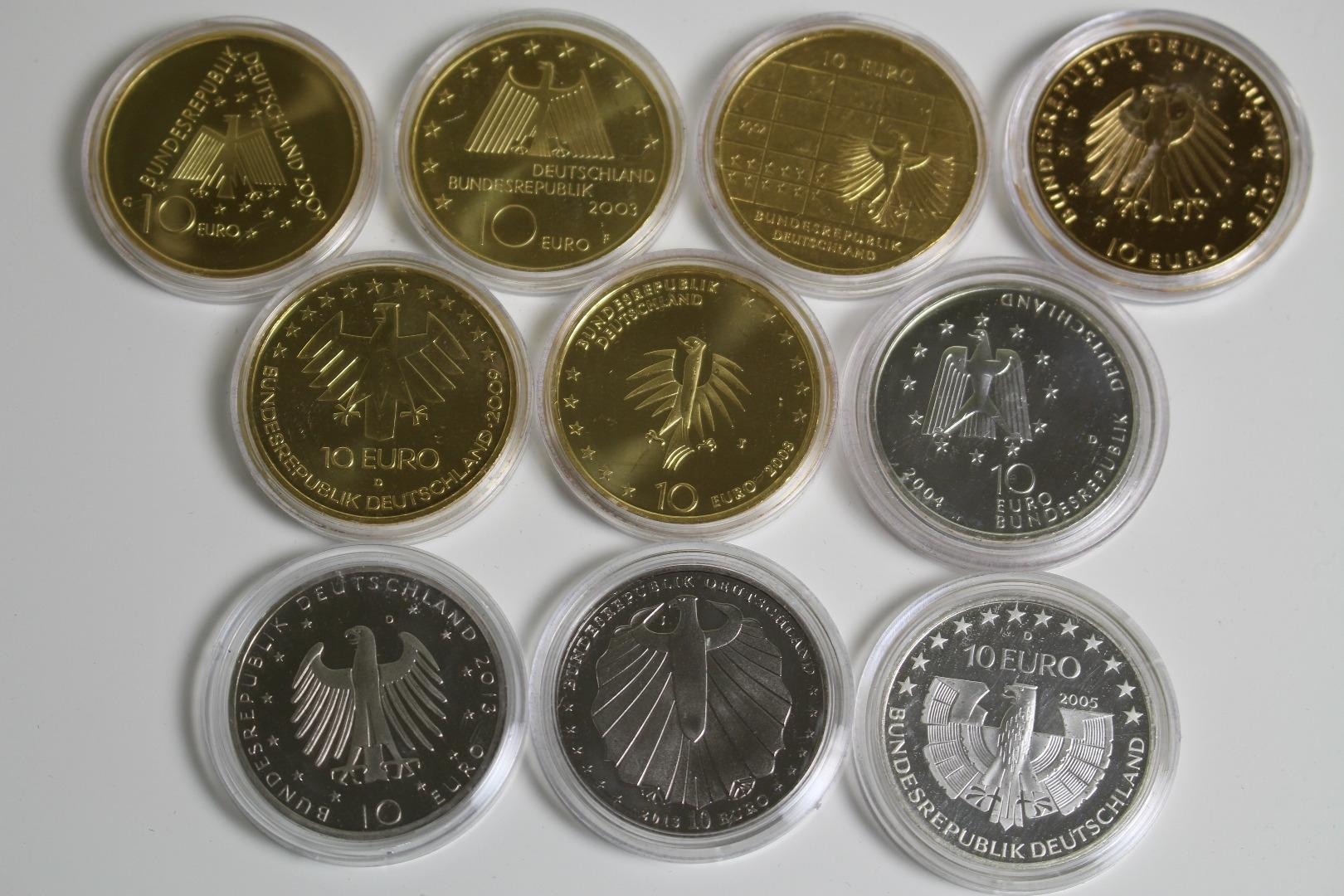 10 X 10 Euro Münzen Partie Vergoldet Oder Mit Farbapplikationen