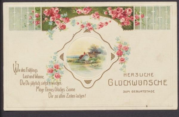 Herzliche Gluckwunsche Zum Geburtstag Karte Mit Vers Briefmarken