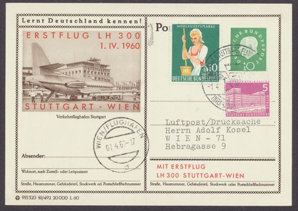 Lufthansa Erstflug Lh 300 Stuttgart Wien Briefmarken Holsten