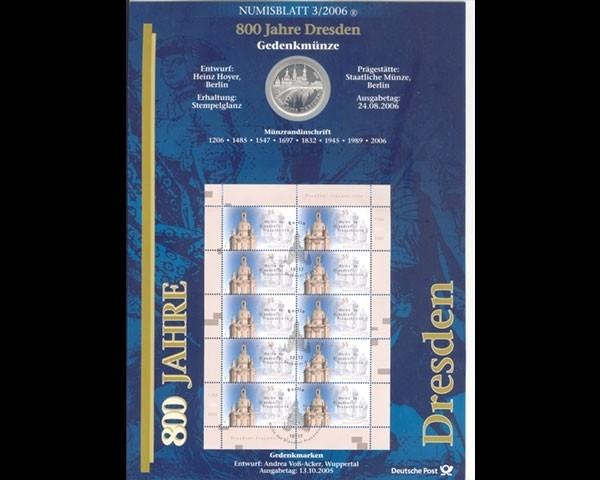 Brd Numisblatt 32006 800 Jahre Dresden Briefmarken Holsten