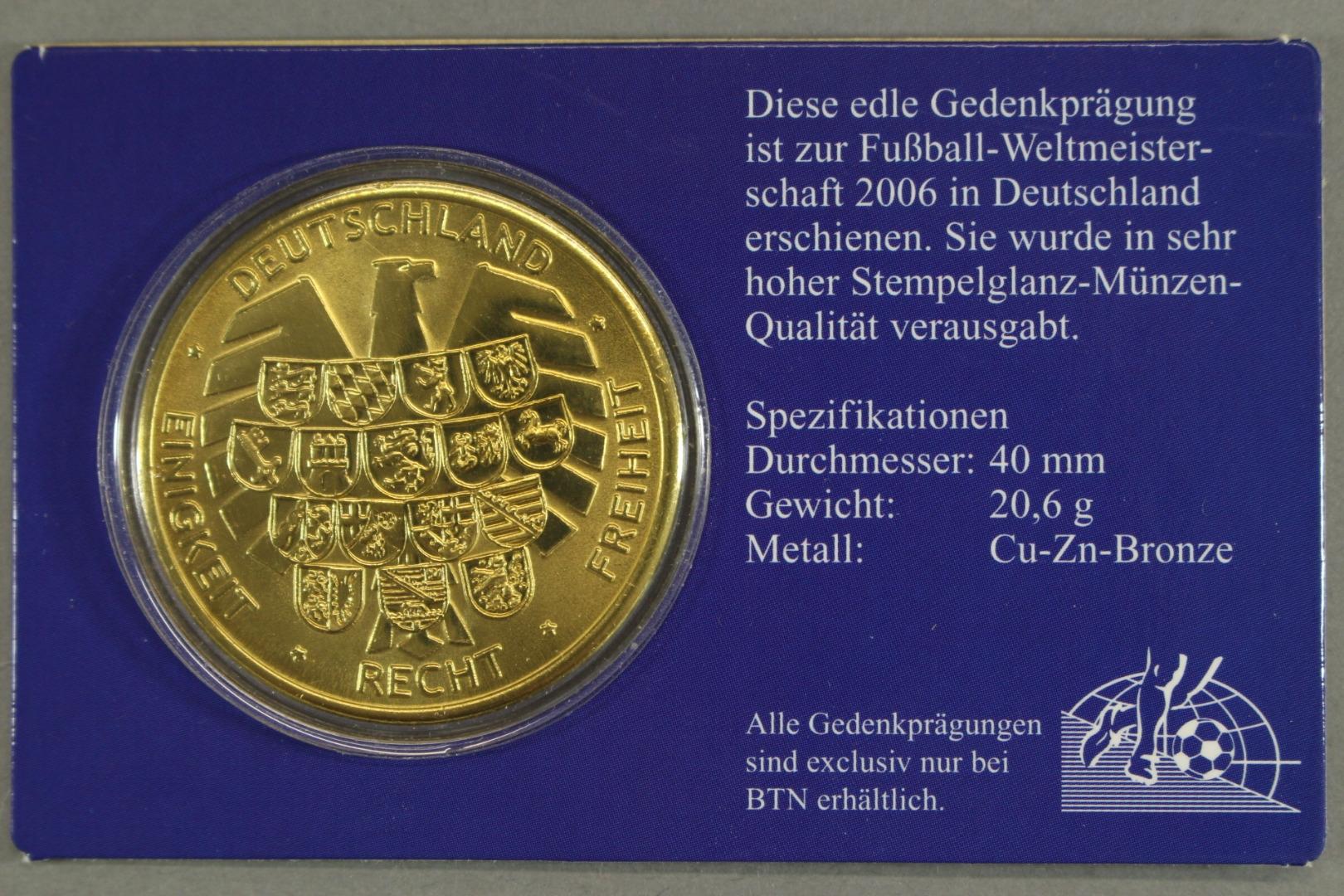 Medaille Zur Fussball Wm 2006 Ausgabe Fur Deutschland