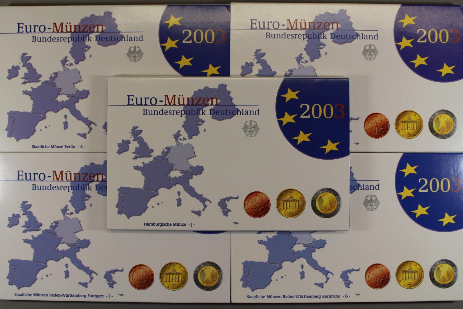Brd Kursmünzensatz 2003 Adfgj 1 Cent Bis 2 Eur Polierte Platte