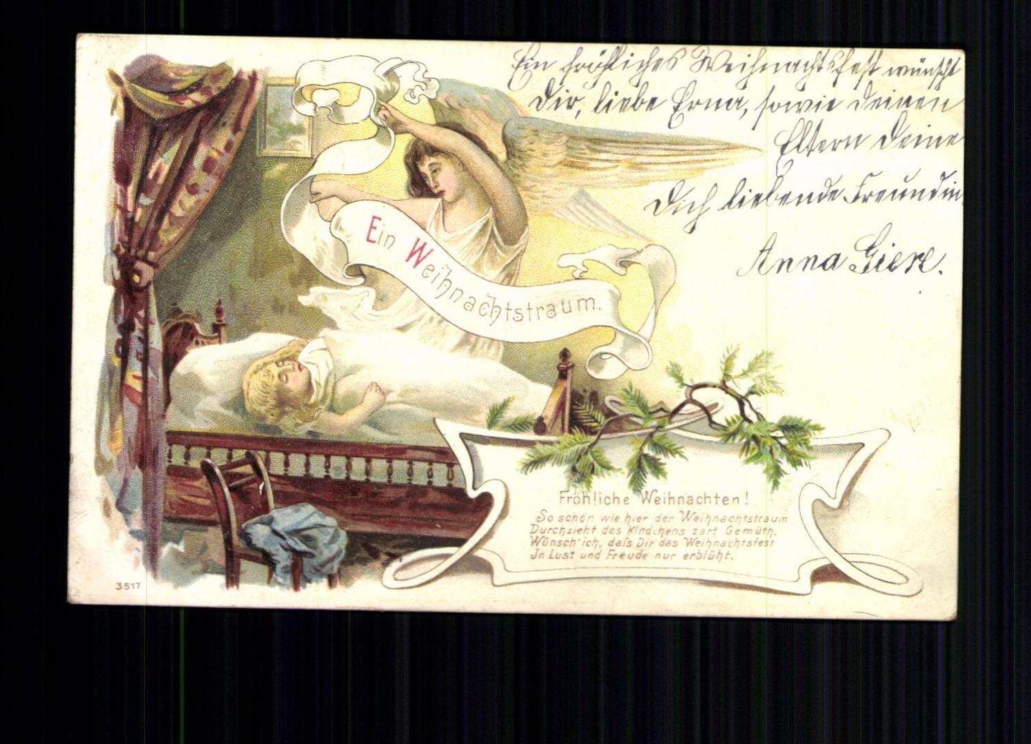 Ein Weihnachtstraum, fröhliche Weihnachten, Karte mit Vers ...