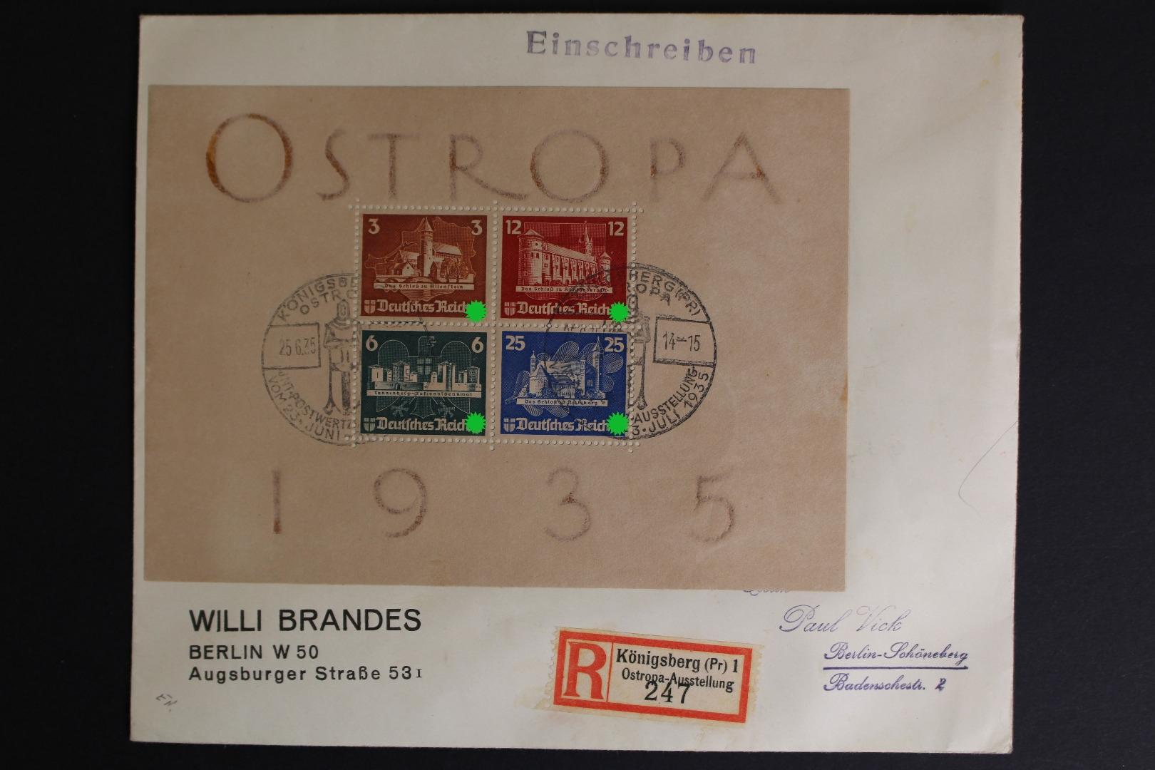Deutsches Reich Minr Block 3 Brief Briefmarken Holsten