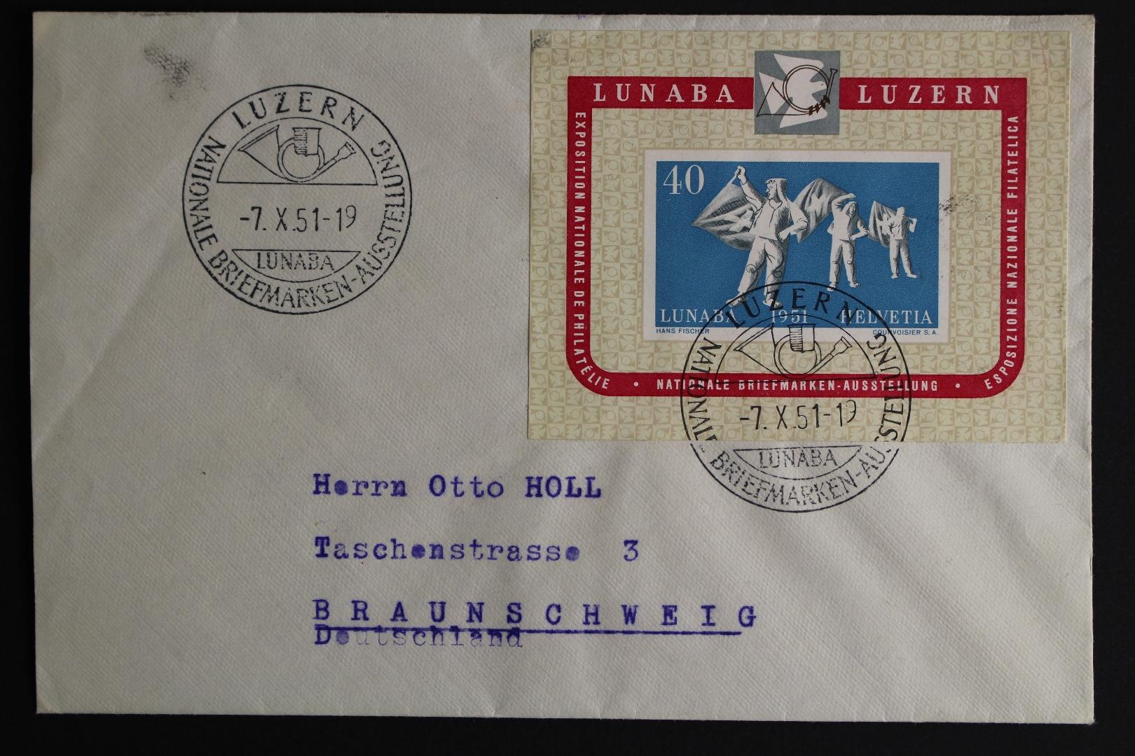 Schweiz Minr Block 14 Brief Briefmarken Holsten
