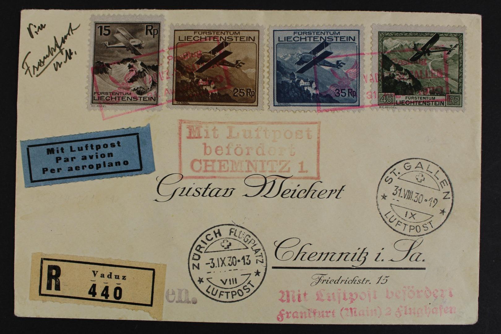 Liechtenstein Minr 108 110 111 112 Brief Briefmarken Holsten